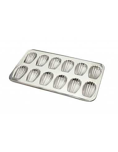 Moule professionnel 12 Madeleines en fer blanc Gobel