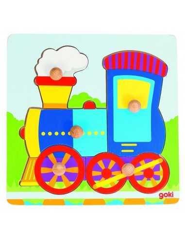 Puzzle à encastrements en bois Train Goki