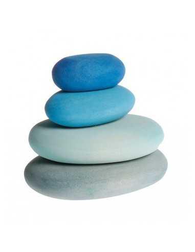 4 Galet en bois Bleu GRIMM'S
