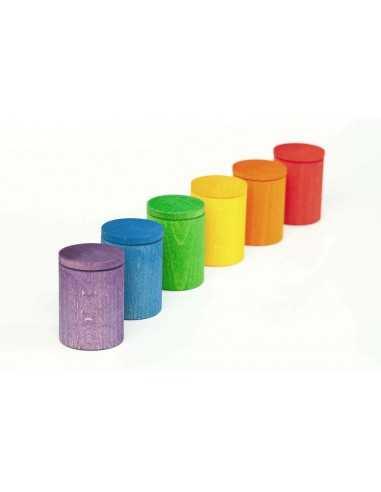 6 Pots Colorées en Bois avec Couvercle GRAPAT - MES TENDANCES BIO