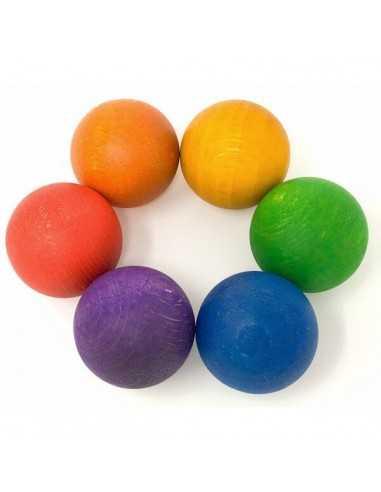6 Boules en Bois Colorées GRAPAT - MES TENDANCES BIO