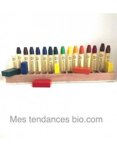 Support en bois pour 16 blocs de cire, 16 crayons STOCKMAR