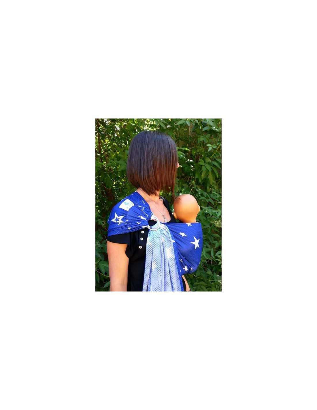 Porte Bébé SUKKIRI Bleu étoiles Blanches MES TENDANCES BIO - Porte bébé sling